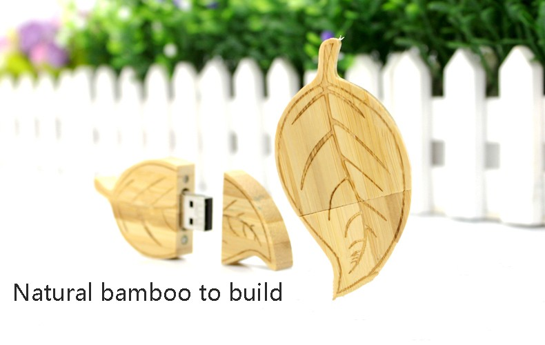 leaf shape wooden usb pen drive with logo printing