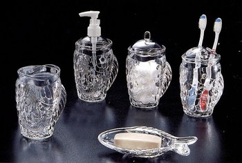 Fish Designed Clear Acrylic Bathroom Accessories Set