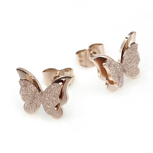Rose Gold Stainless Steel Butterfly Polished Stud Earrings Parts For Women