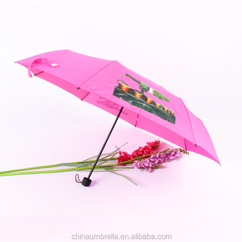 3 folded advertising umbrella plain color with colorfull silk printing photo print