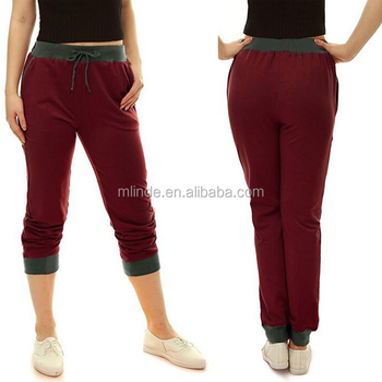 Alibaba Top Selling Women Drawstring Elastic Band Track Pants Contrast Color Blank Unisex Wholesale Custom Jogger Pants