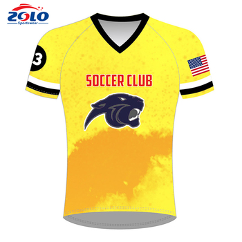 Design your own 100% polyester cheap soccer uniforms from china