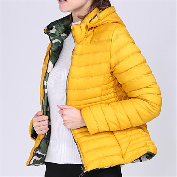 8317124256e41 Moda kadın ceketler saf renk kamuflaj her iki tarafta zayıflama ceketler  standı çıkarılabilir kap ceket