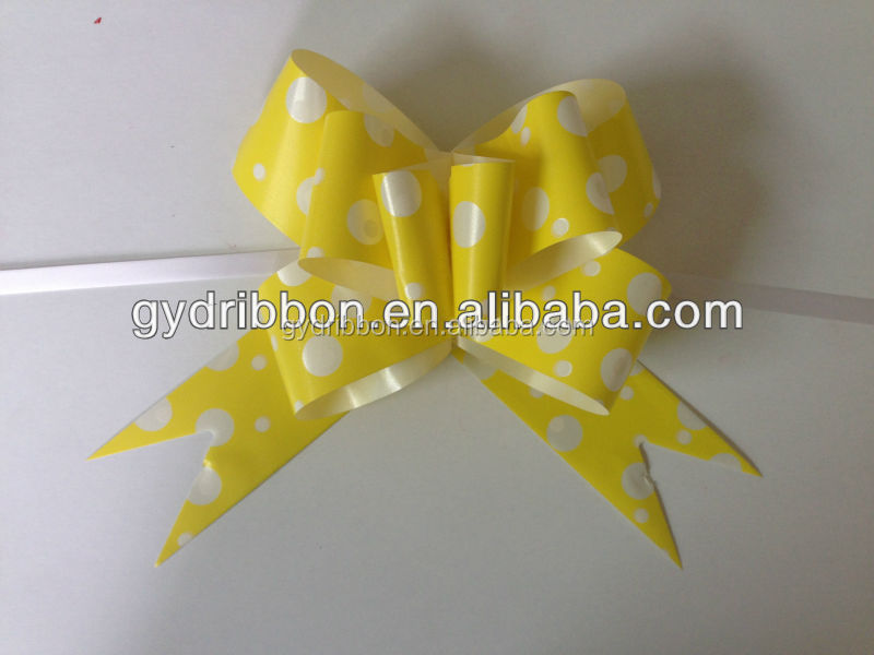 Yellow PomPoms Metallic pull ribbon bows and customized packing decorative butterfly bows