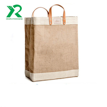 Eco-friendly wholesale heavy duty custom logo jute tote bag with leather handle