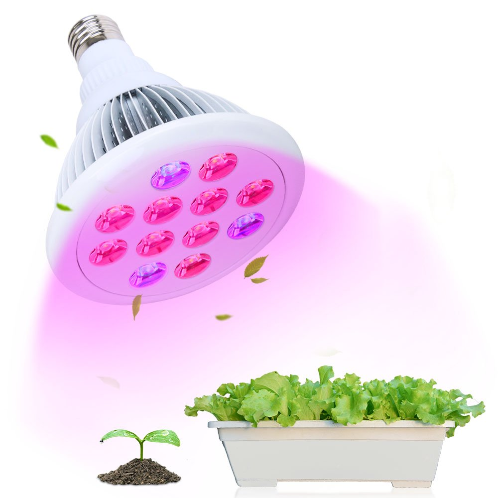 LED Grow Lights Bulb, T-SUN 12 LED Growing Lamp for Plants, High Efficient Hydroponic Grow Lights for Indoor Plants, Greenhouse, Garden(E27 12W)