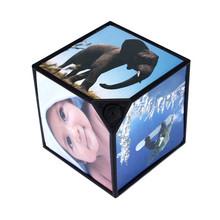 SimpleStone 360 Rerating Revoling Multi Picture Photo Frames Cube Black Home Decor Family 60413