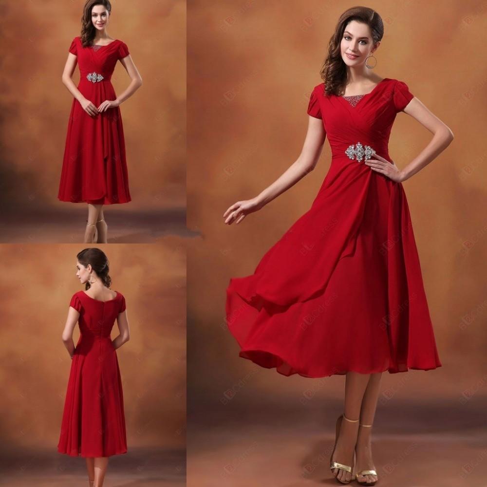 Simple Elegant Tea Length Chiffon Cap Sleeve Wedding: High Top Quality A Line Cap Sleeve Beaded Empire Waists