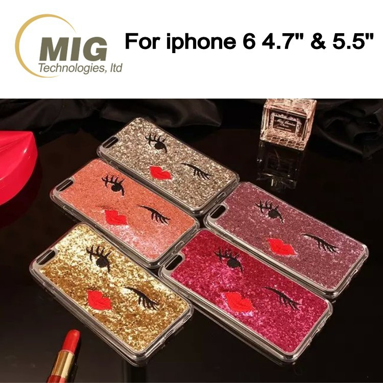 Bling bling good looking twinkle eye cell/ mobile phone case for iphone 6/ 6s plus, tpu mobile phone cover with a red lip