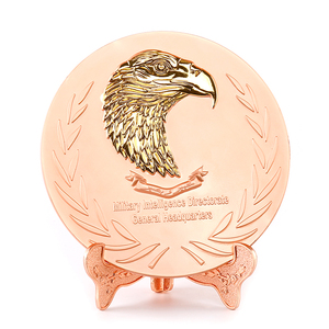 custom gold 3D eagle embossment logo rose gold metal trophy plate