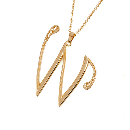 30545 Fashion hot sale jewelry letter W pendant 14k gold chain gold plated white diamond fashion necklace