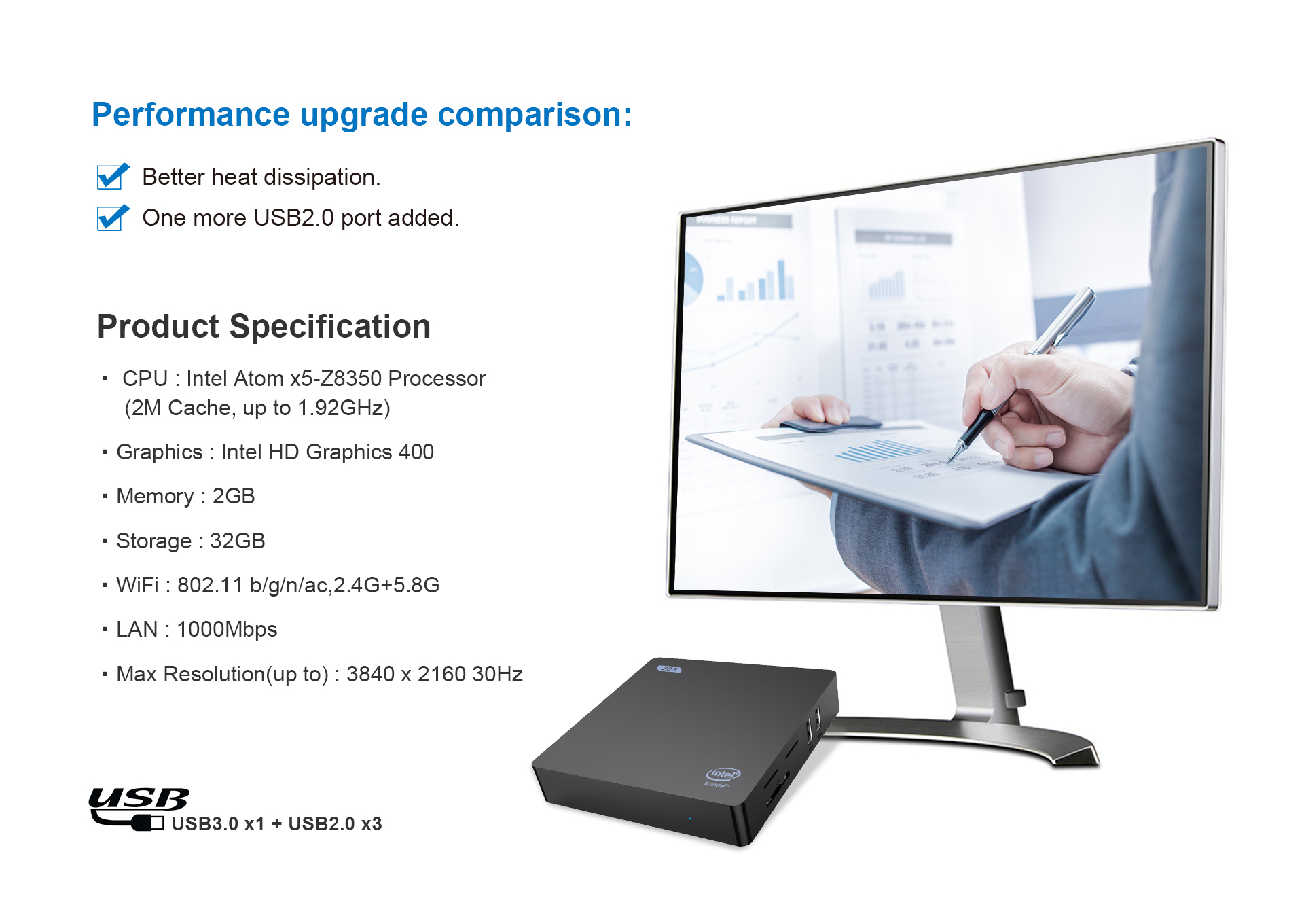 4GB+64G Intel Atom x5-Z8350 Processor Mini PC Mini Computer 2M Cache, up to 1.92 GHz Built-in Bluetooth 4.0// USB 3.0// 4K HDMI /& VGA// 2.4G+5.8G Dual WiFi// 1000Mbps LAN