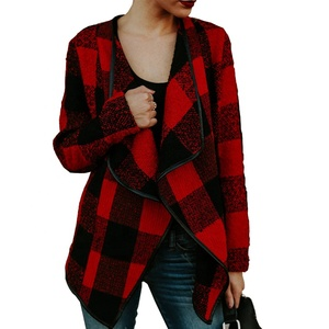 Women Buffalo Plaid Lapel Loose Color Block Irregular Wool Short Cardigan Coat