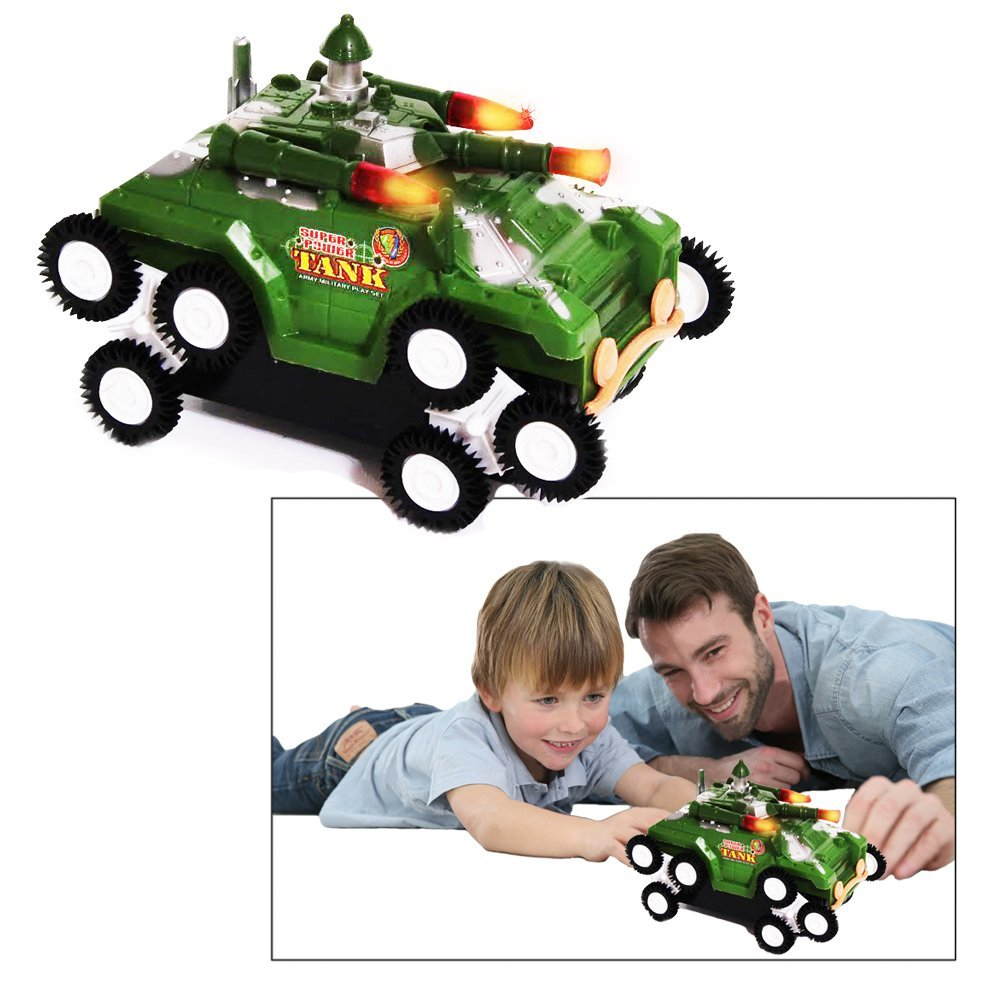 Toy Cubby Battery Powered Kids Army Military Battle Tank Playset with Lights and Sounds