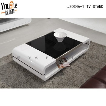 Charmant Glass Top High Gloss White Wooden Touch Screen Coffee Table