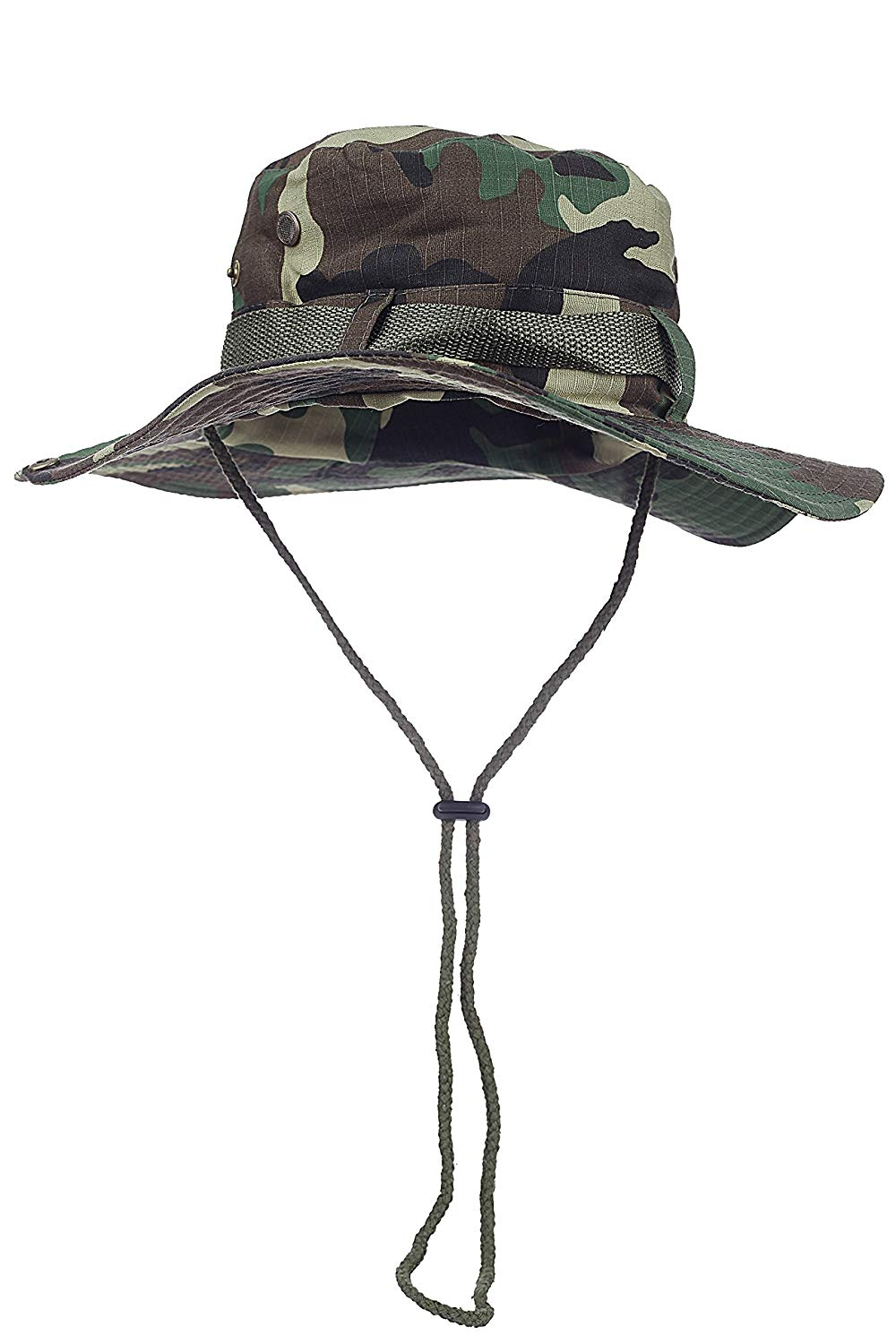 55760a6a710 Get Quotations · Jemis Fishing Hiking Snap Military Bucket Sun Hat Woodland  Camo