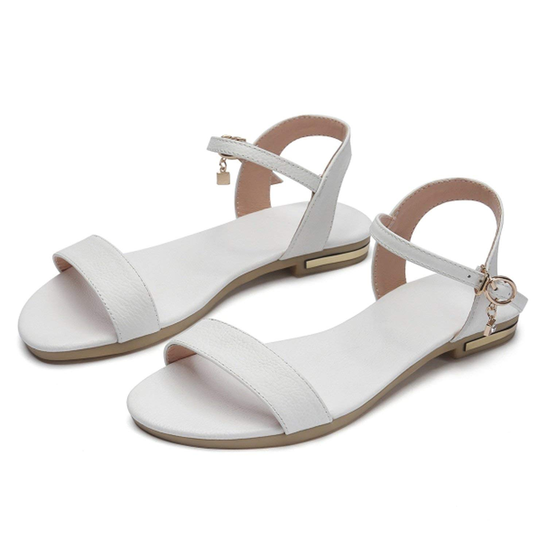 Romantic moments Women Sandals Genuine Leather Soft Rubber Sole Basic Buckle Strap Size 34-43