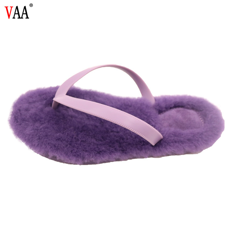 AN-CF-46 Shearling Wool TPR Sole And PVC Straps Flip Flops,Indoor Slippers