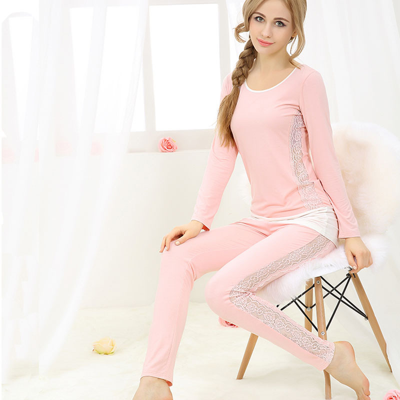 7dff5309d0 Buy Sexy Pajama Sets Modal womens lounge sleepwear plus size lace long  sleeve long pants pullover at home service set in Cheap Price on Alibaba.com
