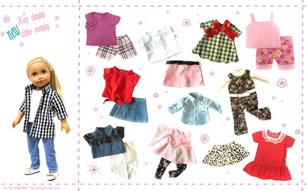 Customized fabric baby doll clothes for 18 inch doll