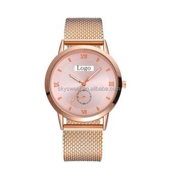 b0ef3caec21 2018 Marca De Luxo Em Ouro Rosa Mulheres Pulseira De Relógio De Moda  Senhoras Vestido De Relógio De Pulso Big Dial Relógios Femininos - Buy  Grande ...