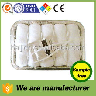 disposable airline rolled cotton towels in tray for hand cleaning sample free OEM welcomed china manufacturer/factory wholesale