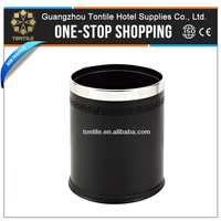 GPX-45D Iron with paint coated Rubber Base Round Black Silver Trash Bin