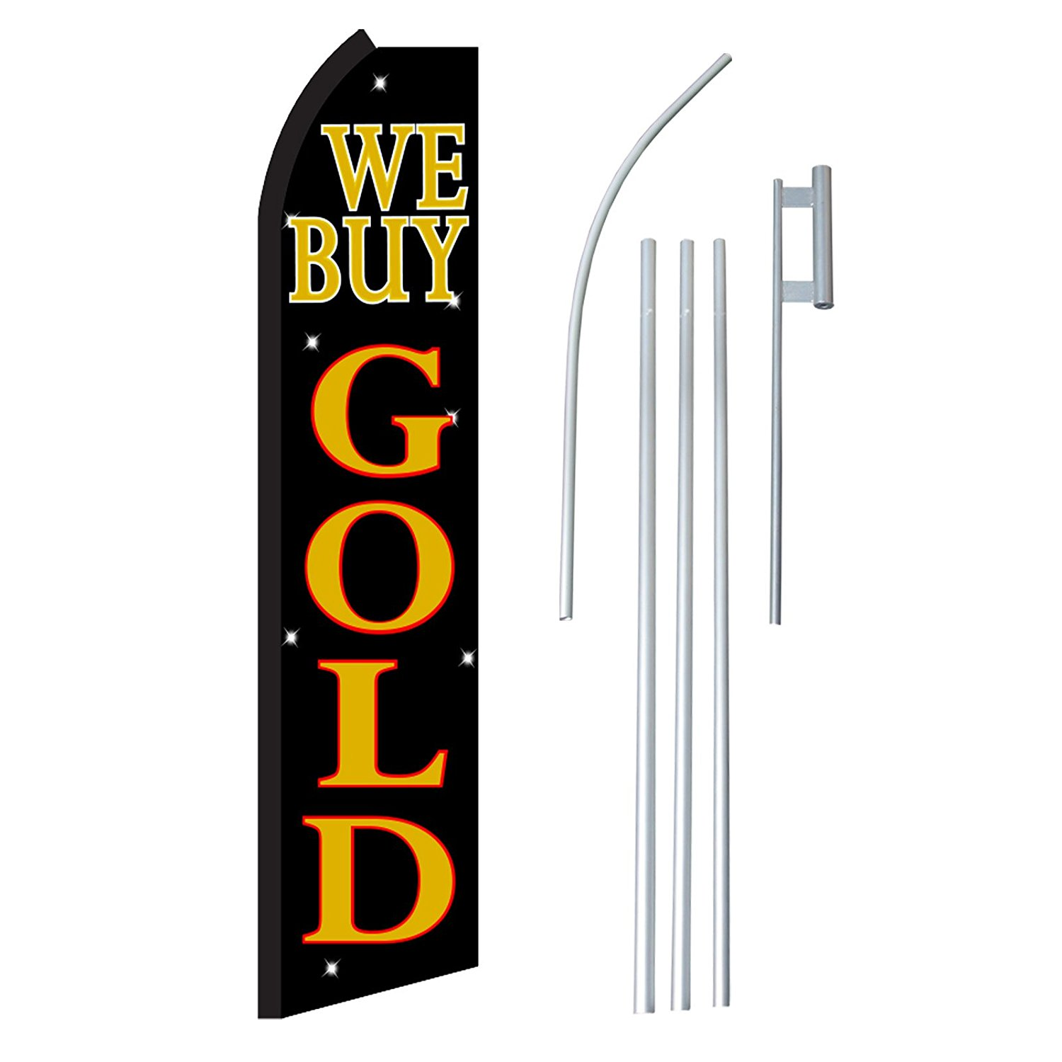 """NEOPlex - """"We Buy Gold"""" Complete Flag Kit - Includes 12' Swooper Feather Business Flag With 15-foot Anodized Aluminum Flagpole AND Ground Spike"""