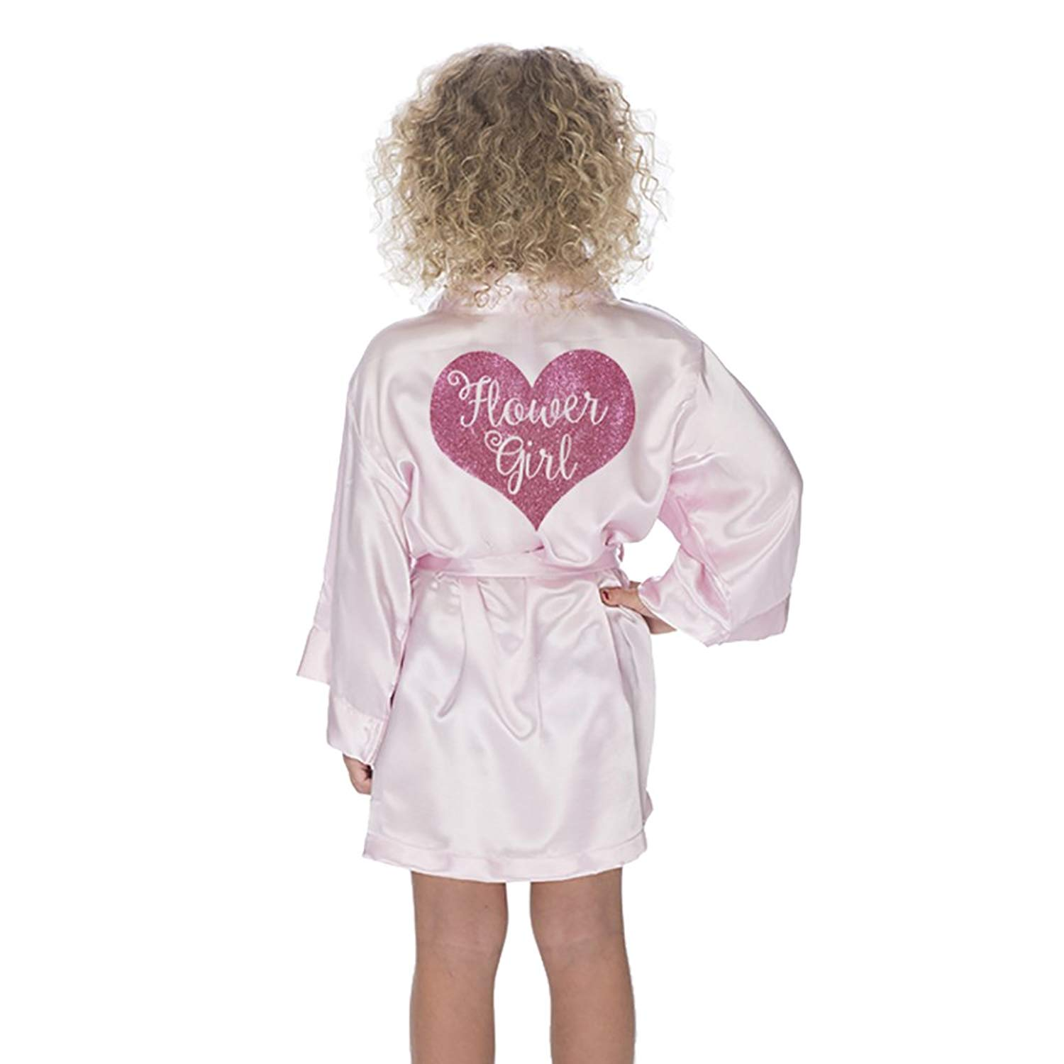 Classy Bride Flower Girl Robe Satin With Glitter deb99ebf4
