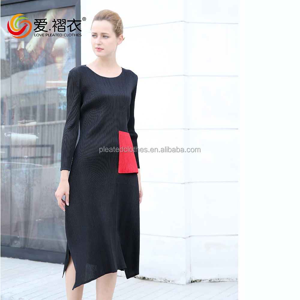 New Arrival O Neck Black one poket Bodycon pleated lady dresses Other