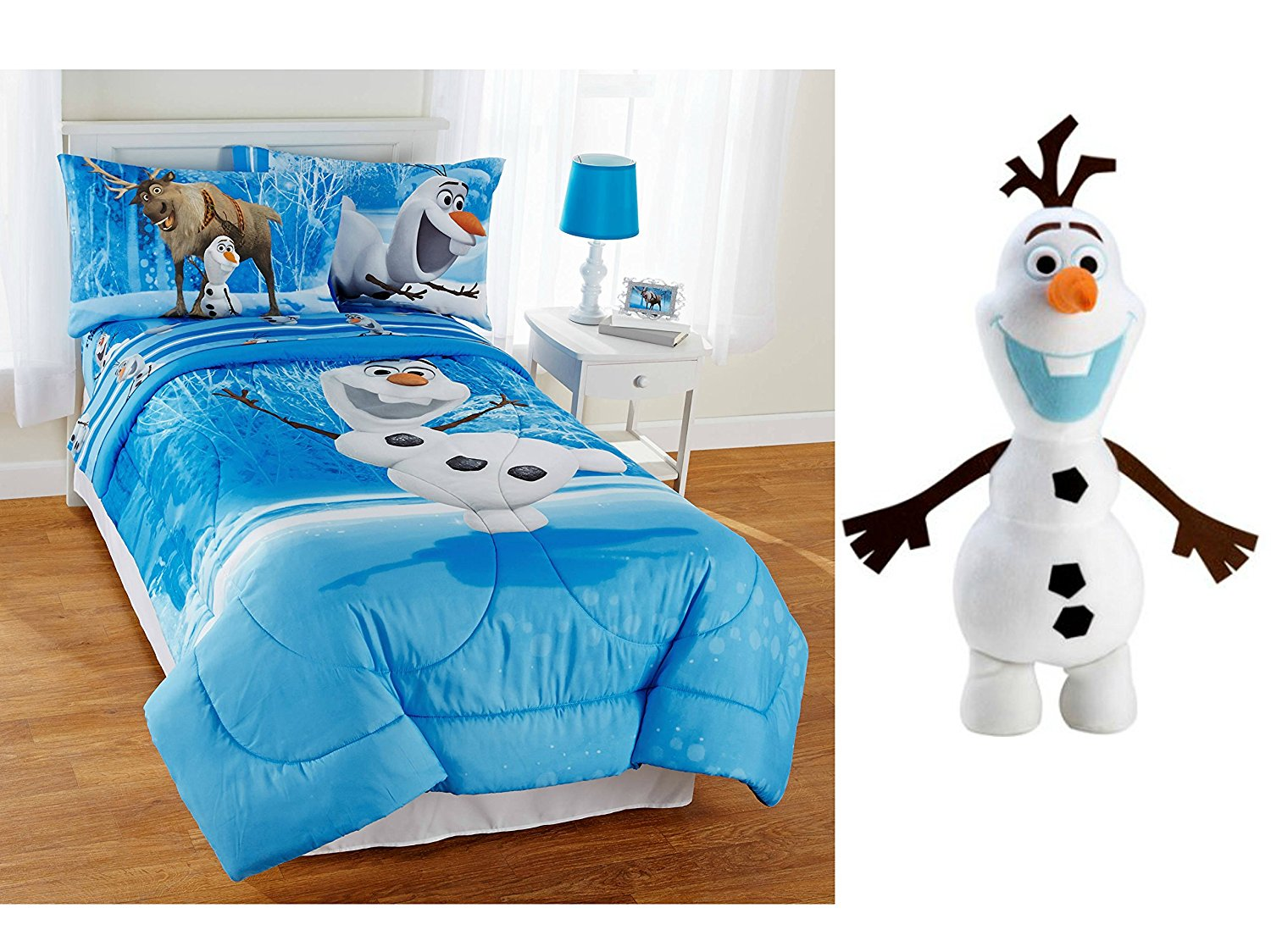 Get Quotations · Disney Frozen Olaf Full Size Reversible Bed in a Bag 5-Piece Bedding Set with