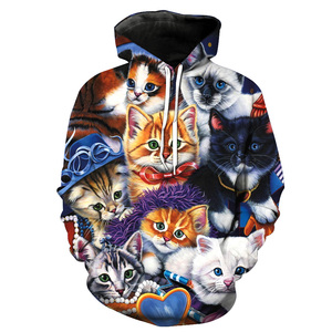 Drop shipping Custom 3D Print Oversized Women Thick Drawstring Hoodie Pullover with Cat Design