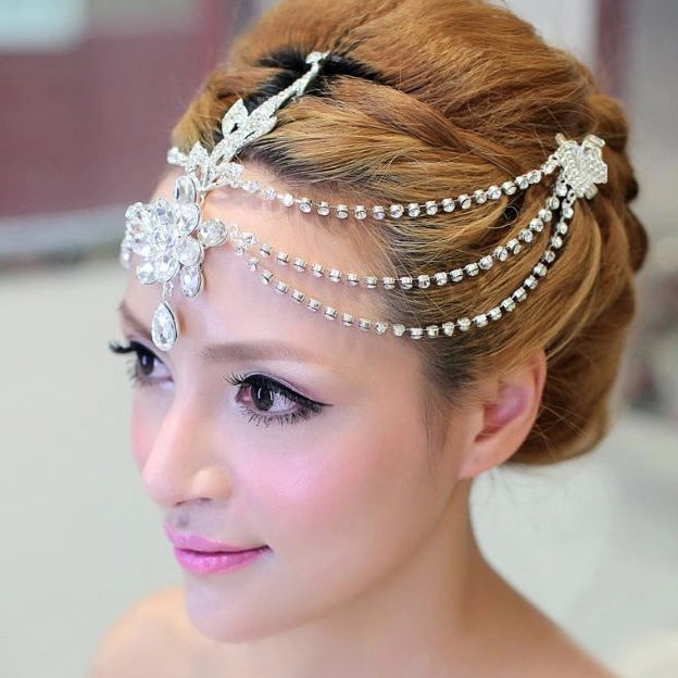 Crystal Head Chain Indian Jewelry Rhinestone Headbands Wedding Hair Tiara For Bride Whole