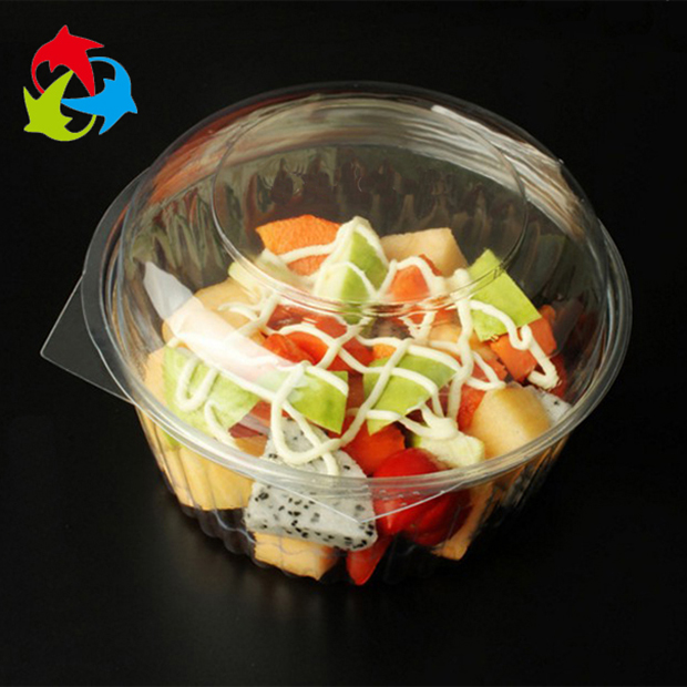 Food grade small round disposable plastic salad bowl with lid for cake