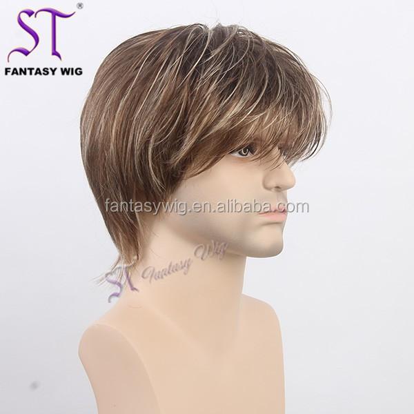 Grey Highlights Black Men Short Hair Styles Full Hair Wigs For Men