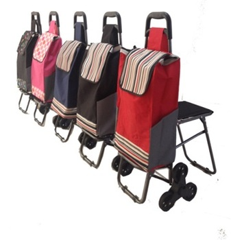 Practical colorful convenient foldable shopping cart with for Chair shopping