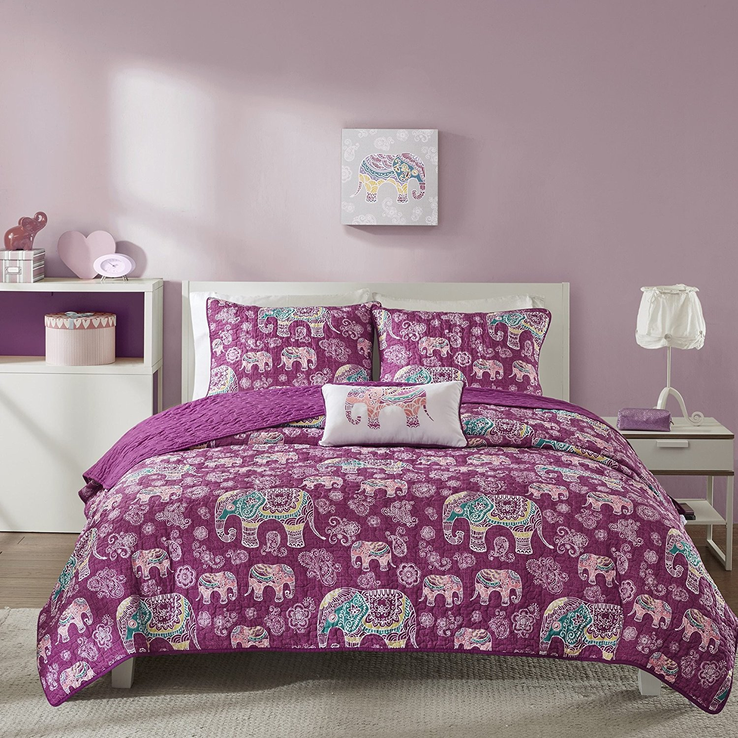 3 Piece Girls Berry Purple Boho Chic Elephant Theme Coverlet Twin XL Set, Beautiful Girly All Over Bohemian Paisley Floral Bedding, Multi Elephants Flower Themed Pattern, Plum Yellow White