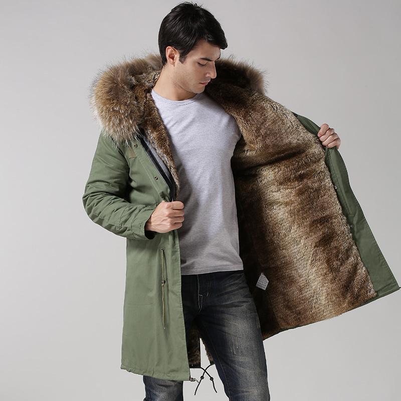 Toptan Artı Boyutu Ordu Yeşil Erkek Giyimgerçek Rakun Yaka Erkek Parkasahte Tavşan Astar Erkek Ceketler 2015 Buy Kadınlar Için Son Ceket