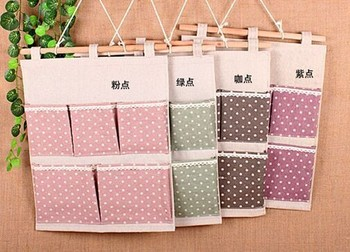 Wholesale Zakka cotton and linen materials four color Wall Hanging Storage Pockets production 5 pocket & Wholesale Zakka Cotton And Linen Materials Four Color Wall Hanging ...