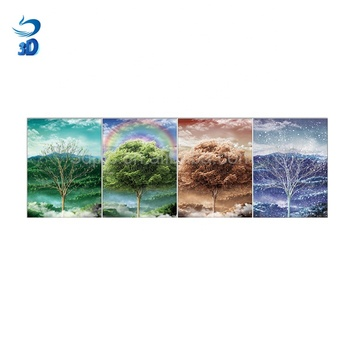 Beautiful scenery 4 season tree 3d flip lenticular picture