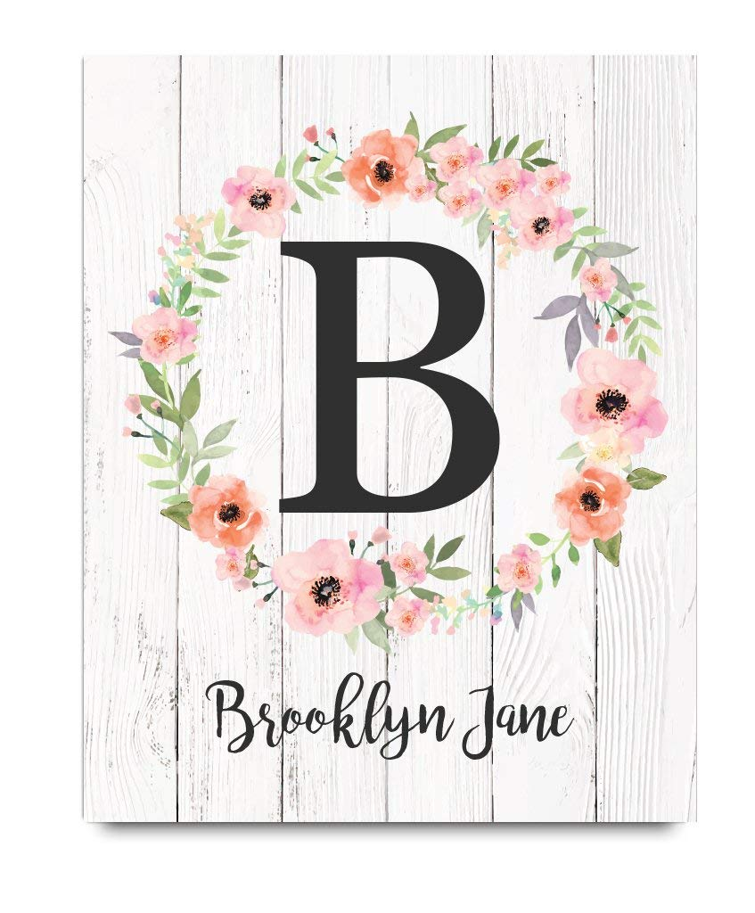 Girls Monogram Paper Art Print | Girls Wood Nursery | Rustic Nursery | Nursery Name Decor | Pink Nursery Sign | Girls Room | Girls Room Decor | Dorm Decor | Floral Print