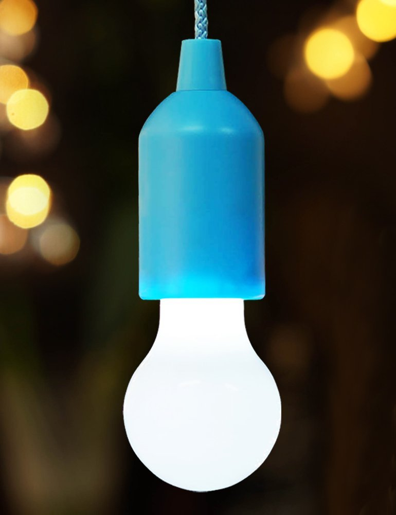 BRIGHT ZEAL Bright Pull Cord LED Light - Portable LED Bulb - Camping Bulb - Decorative LED Bulbs - Cold White LED Bulb - Hanging Light For Party - Lamps & Light Fixtures - Portable LED Light (Blue)