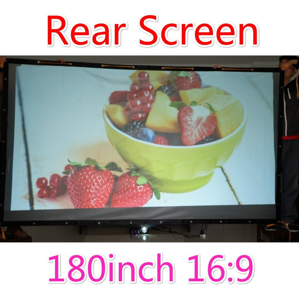 Rear Projection Film, Finished Edge Projector Screen with Grommets, Translucent, Gray (16:9 72-300 inch) (180 inch 390x224cm)