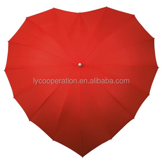 Otomatik açık düz golf şemsiyesi, kalp şemsiye, düğün şemsiyesi sevgilisi için
