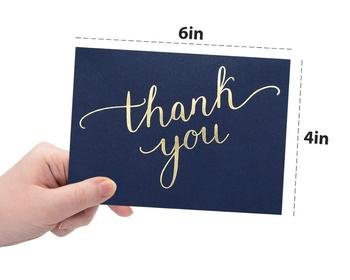 100 Thank You Cards Bulk - Thank You Notes, Navy Blue & Gold - Blank Note Cards with Envelopes