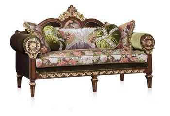 Clical Replica Windsor Castle Fabric Sofa Couch Hand Carved Wooden Set Royal British