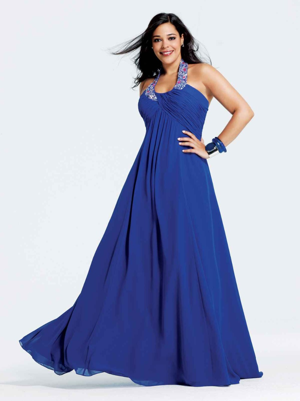 48142749588 Get Quotations · Plus Size Evening Dress Chiffon Ruched Royal Blue Party Dresses  Halter Empire Rhinestone Evening Gown Robe