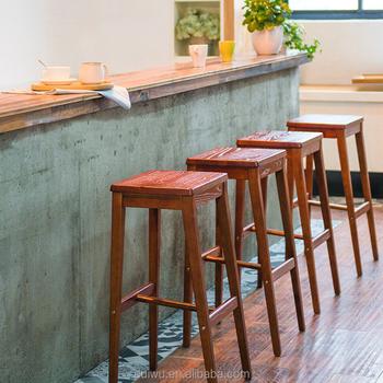 Simple Style Modern Wooden Bar Stool