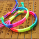 2017 New Adjustable Rainbow Fluorescent Color Woven Bracelet Bangles For Women Lesbian Bisexual Lgbt Gay Pride Wholesale Jewelry