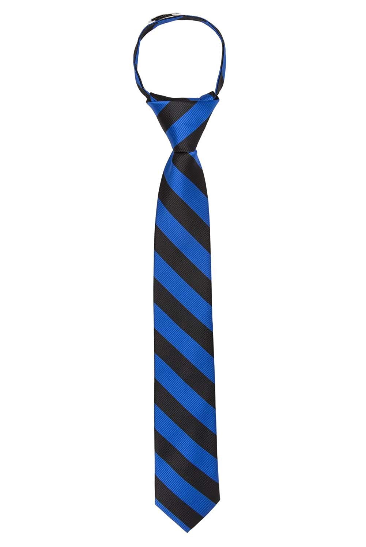"Jacob Alexander Stripe Woven Boys 14"" College Striped Zipper Tie"